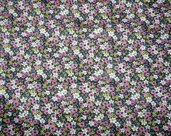 CLEARANCE - Black floral ditsy cotton fabric - 175cm remnant