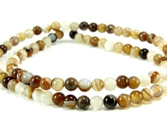 Agate Beads, 4mm Round Multicolor Brown Agate Bead Strands, 1 Full Strand Semiprecious Gemstone Beads, Loose Beads, Agate Bead Findings