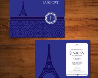Parisian Theme Invitation-French Themed Party Invitation-Paris Themed Party- Passport Invitation- Parisian Theme