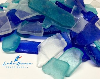 12 oz. Large Tumbled Glass Pieces in Cobalt Blue, Light Blue and Clear.