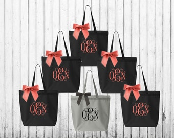 monogrammed tote, monogrammed bag, bridal totes, bridesmaid tote, bridesmaid gift, bridal party totes