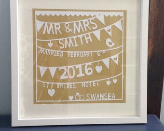 Large Framed Personalised Paper Cut Wedding Gift