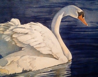 Original 12x16 Watercolor Painting of a Beautiful Swan stretching his Wings.