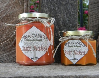 Large BUTT NAKED Soy Candles! apple candle, strawberry candle, fruity candle, honeydew candle, tropical candle, orange candle, summer candle
