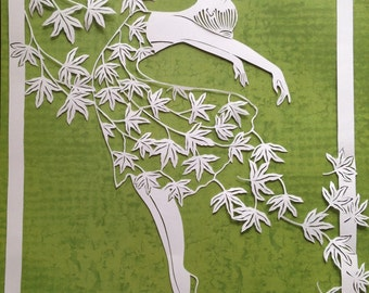 sold---Original paper cut- dancing with the wind