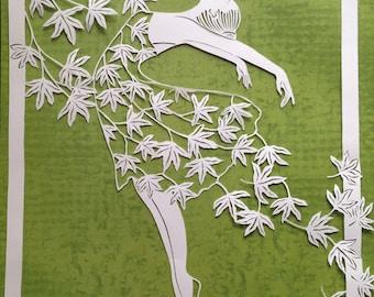 Original paper cut- dancing with the wind