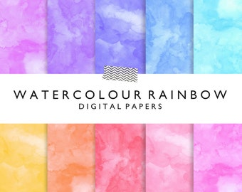 Rainbow watercolor digital papers for scrapbooking or graphic design projects