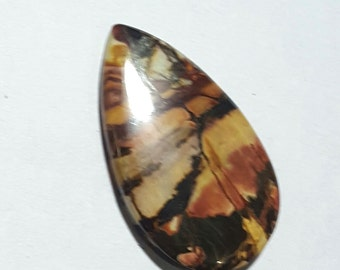 Multicolor 30 carat Natural Picasso Jasper Gemstone 37 x 27 mm Pear Shape Cabochon for Pendant making : LG1719