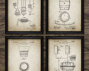 Whiskey Making Patent Print Set Of 4 - Bourbon Whiskey - Whisky Industry - Bar & Pub Wall Art - Set Of Four Prints #1253 -INSTANT DOWNLOAD