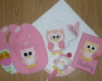 Pink set with owls