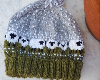 Sheep on a snowy day Beanie, Hat made of soft warm wool