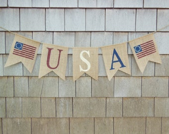 4th of July Decor, USA Banner, 4th of July Bunting, Patriotic Banner, Patriotic Decor, Burlap Bunting, Burlap Garland, Rustic July 4th Sign