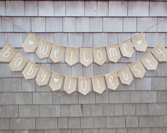Mint Green Baby Shower Decor, Welcome Baby Banner, Burlap Baby Banner, Baby Shower Banner Garland, Burlap Baby Bunting, Custom Personalized