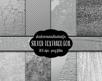 70% OFF THRU 5/7 Silver Digital Paper, Silver Foil, 12x12 Silver Textured Paper, Silver Metal Foil 300 dpi, commercial use
