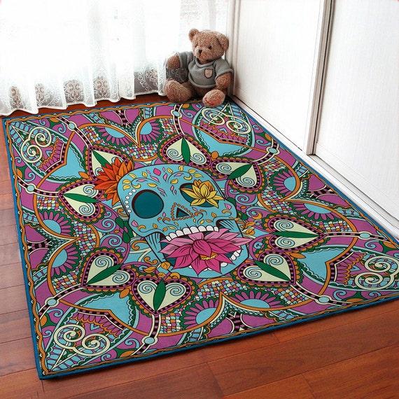 Skull Area Rugs: Floral Skull Rug Sugar Skull Carpet Floor Rugs By VividView