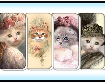 Victorian Cats - 12 Digital Domino Images Download on Purchase - Excellent quality for domino crafting. Original Collages by Simply D Rave