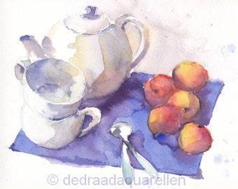 Tea and apricots. Original watercolour.