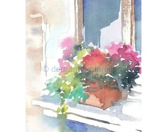 Window with flowers. Original watercolour.