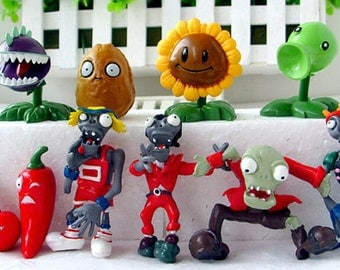 "Plants VS Zombies  Birthday Cake Toppers  1""- 3"" Tall ( 10 - pc Set )"