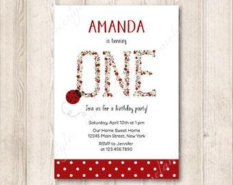 Printable Ladybug First Birthday Invitation, Red Floral Alphabet 1st Birthday Invite, Printable Invites, 5x7 JPG