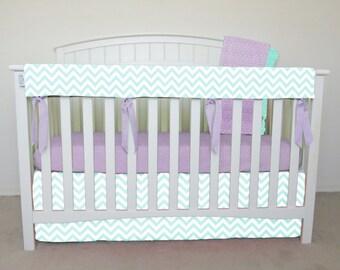 4 piece bumperless Crib Set - Mint chevron crib bedding, zig zag, mint chevron, green chevron, mint zig zag