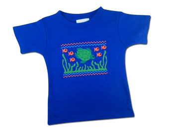 Boy's Sea Turtle Faux Smocked Shirt with Embroidered Name