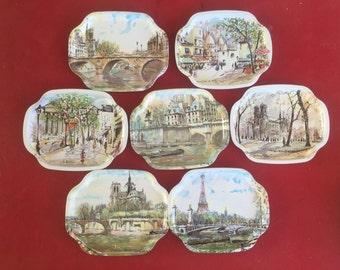Elite trays Made in England Paris scenes set of 7