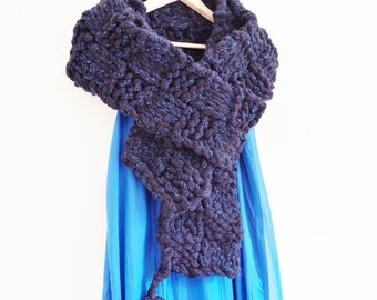 Knitted Scarf, Blue Scarf, Knitted Shawl, Wrap, Chunky Oversized Scarf, Long Scarf, Navy Scarf, Handmade Scarf, Handknit scarf, Scarf  611
