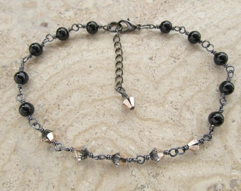 Black Agate and Swarovski Crystal Wire Wrapped Anklet