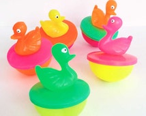 4 Duck Pond Ducks - Carnival Ducks - Weighted Retro Quackers - Plastic Ducks - Easter Ducks