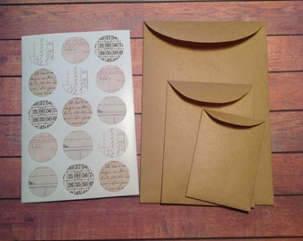 kraft paper envelopes, set of 15, envelopes seals, snail mail, handmade envelopes, packaging