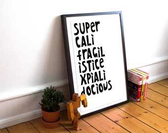 Supercali 'Mary Poppins' inspired typography A3 art print