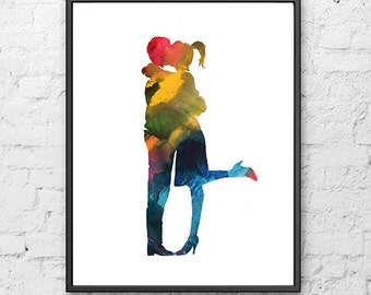 Love Art Print, Couple Art Watercolor Painting Kiss, Painting Love, Teen Decor, Kids Wall Art, Home Decor - 372