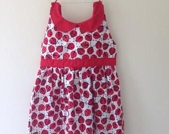 Ladybird dress, ladybug dress, ladybird print, ladybug gift, peter pan collar, baby dress, party dress, baby girl, new baby, girls birthday