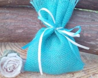 Burlap Favor Bag - Turquoise Favour Bags - Indigo Favour Bags - Burlap Weddings Gift Bag - Burlap Gift Bags - Set of 40 - Choose colour