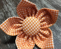 Flower Collar Attachment & Accessory for Dogs and Cats -  Orange Gingham