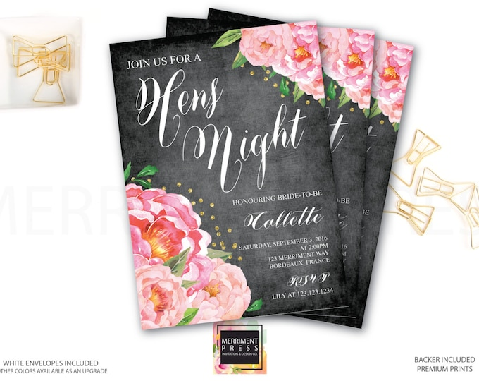 Hens Night Invitation // Bachelorette Party // Chalkboard // Peonies // Peony// Bridal // Pink // Gold Glitter // BORDEAUX COLLECTION