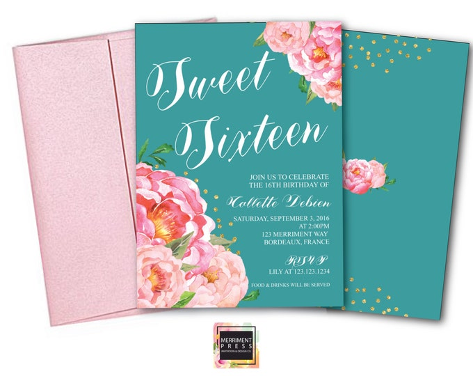Teal Sweet Sixteen Invitation / Birthday Invitation / Sweet 16 / Teal Blue / Flowers // Peony // Pink // Gold Glitter // BORDEAUX COLLECTION