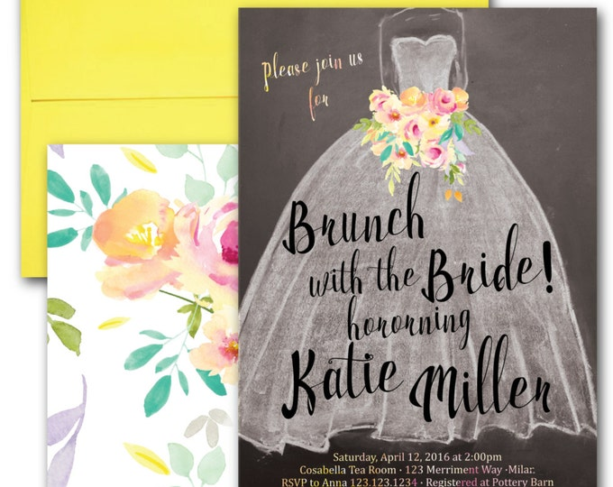 Brunch with the Bride Invitation // Wedding Dress//Chalkboard Invitation // Floral // Yellow // Peach // Pink // Pastels // MILAN COLLECTION