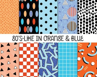 80s-Like in Orange & Blue, Digital Papers, 80s Scrapbook Paper, Digital Scrapbook Paper