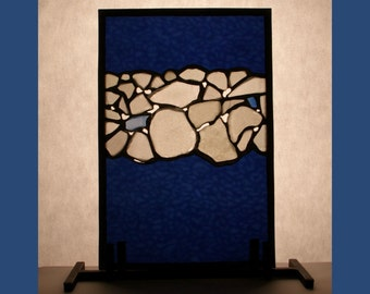 Decorative Blue Glass Panel with Sea Glass