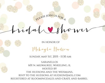 Bridal Shower - DIY Printable Invitation, Print at Home, Invite, Fun, and cute