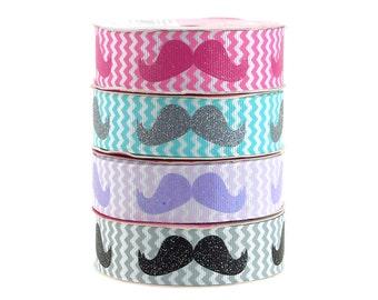 Glitter Mustache Chevron Grosgrain Ribbon, 7/8-Inch, 3 Yards