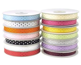 Glossy Polka Dot Polyester Ribbon, 3/8-inch, 25-yard