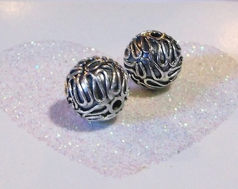 Bali .925 Sterling Silver 10mm Ornate Focal Bead #1562 - (1)