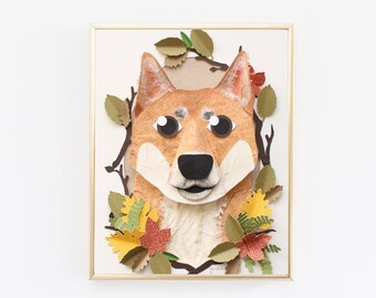 """Custom Dog Portrait made from Paper from Photo 5"""" x 7"""" - A Custom Pet Portrait Dog made from Cut Paper for a Unique Gift for Any Pet Lover."""
