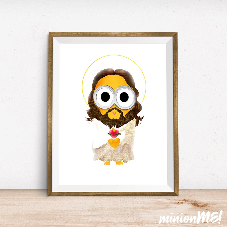 Jesus Wall Decoration : Jesus minion print wall decor art home by kkehasuk