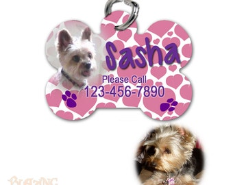 Personalized Heart Design with Photo Pet Tag ID tag for cat or dog name - bone shaped - PT07