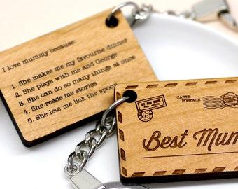 Best Mum Keyring, Wooden Keyring, Postcard Keyring, Personalised Key Ring, Gift For Mum, Reasons I Love You Keyring