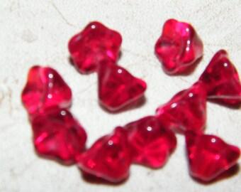 Transparent Ruby Red Czech Glass Flower Beads , Bell Flower Beads, - 6x8mm (10 beads)